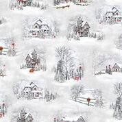 Quilting Treasures 1649-25897-K Home for the Holiday Country Home Scenes Gray