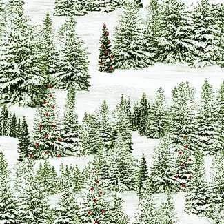 Quilting Treasures 1649-25898-G Home for the Holiday Pine Tree Scenic