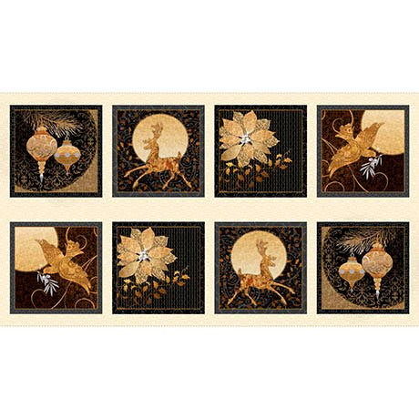 Quilting Treasures 1649-25956-E A GOLDEN HOLIDAY-CREAM WINTER GOLD PICTURE PATCHES