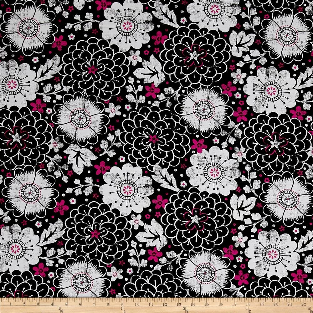 Quilting Treasures 1649-26021-J En Vogue Contempo Floral Black