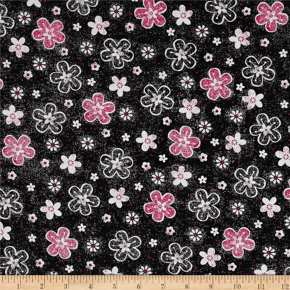 Quilting Treasures 1649-26022-J En Vogue Tossed Flower Black
