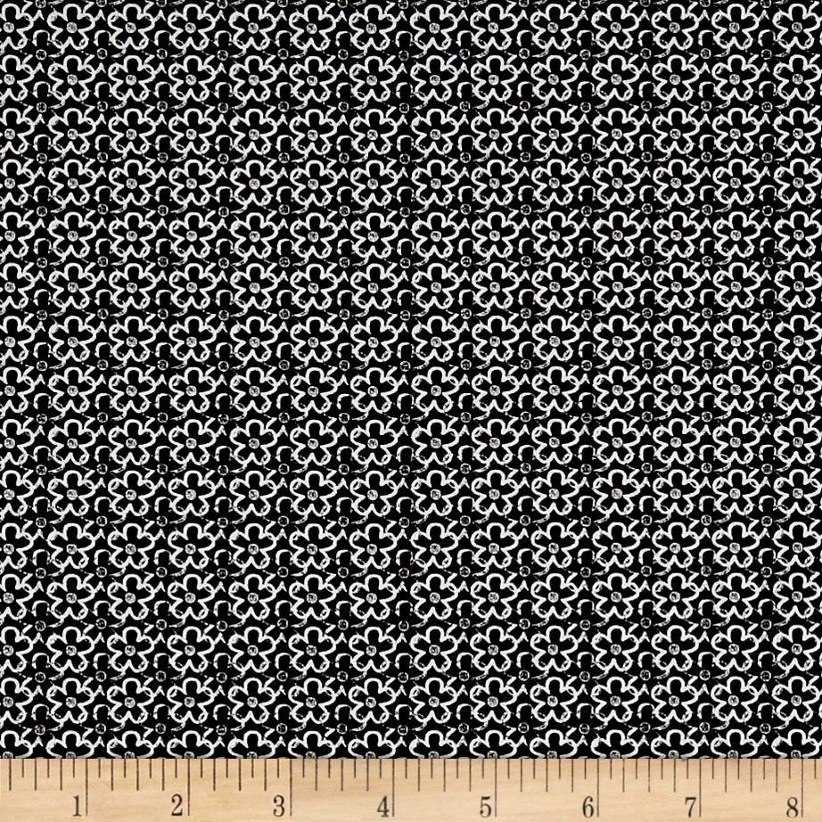Quilting Treasures 1649-26024 JZ En Vogue Linear Flower Black/White