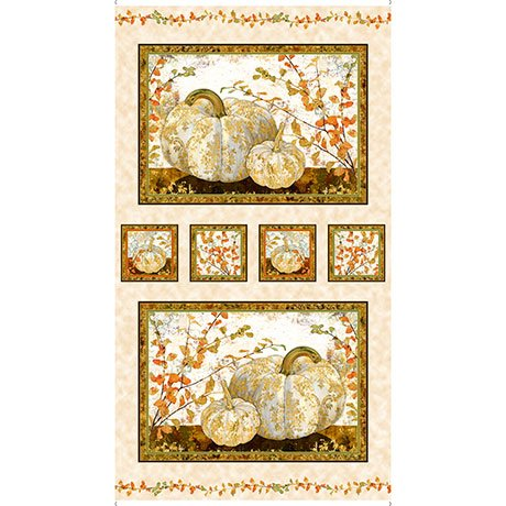 Quilting Treasures 1649-26538-E PUMPKIN PICTURE PANELS 24 vertical repeat-AUTUMN SHIMMER