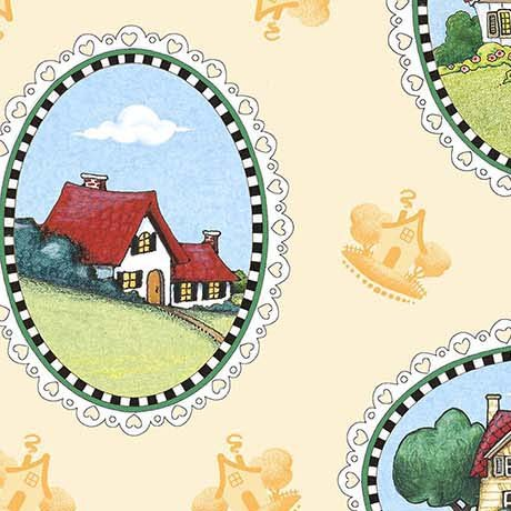 Quilting Treasures 1649-26548-S LIGHT YELLOW HOUSE VIGNETTES-MARY'S JOURNEY