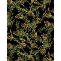 Wilmington Prints 1665 33808 937 Christmas in The Wildwood Pinecones Black
