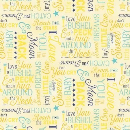 Wilmington 7513-554 To the Moon and Back Flannel Words on Yellow