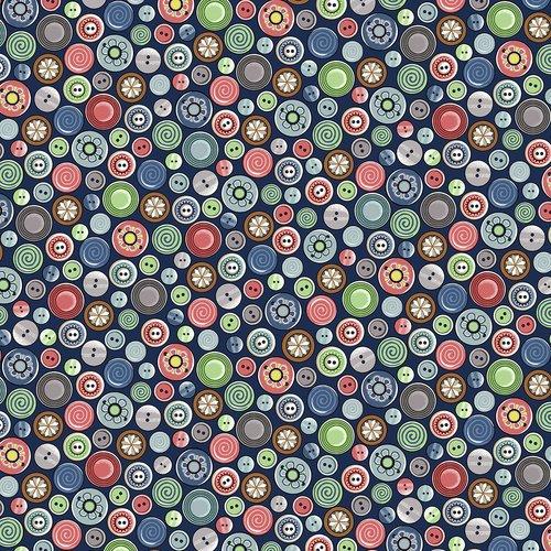 Blank Quilting 9385-77 Buttons-Dk. Blue- Betterstitch