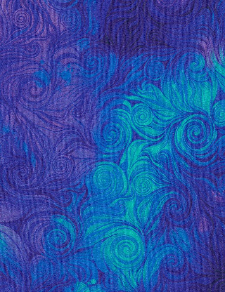 Timeless Treasures CD6554-Blue -Swirls Awaken-