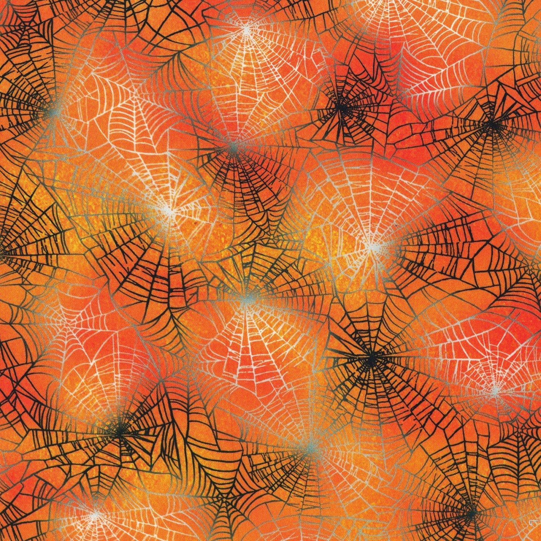 Robert Kaufman   AWHD 18486 148 Pumpkin Spider Webs Raven Moon