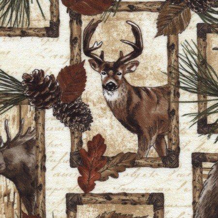 Timeless Treasures  CF4802 Cream-Deer, Bear, Moose Patch Flannel