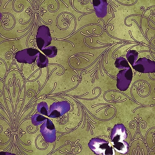 Benartex  8748M49B pansy butterfly scroll oliveI love-Pansy Noir