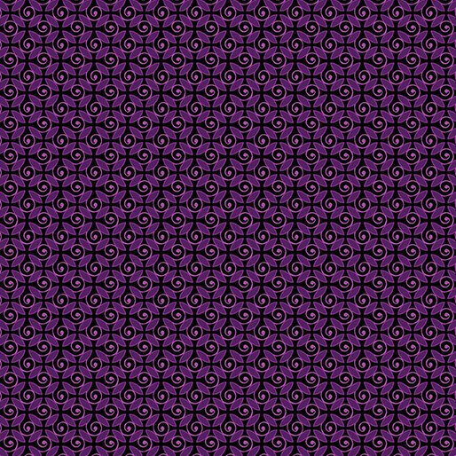 Benartex 8752M26B Curly Buds Berry-Pansy Noir