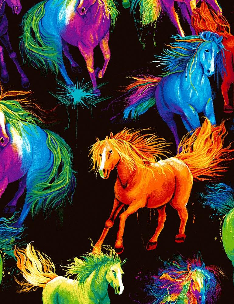 Timeless Treasures CD 6597 Painted Horses Toss-Black