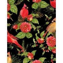 Wilmington Prints 1665 33805 937 Christmas in The Wildwood -Florals & Cardinals Black