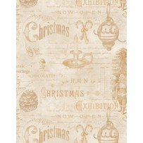 Wilmington Prints 1665 33809 222 Christmas in The Wildwood Ephimera Tan
