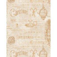 Wilmington Prints 1665 33809 222 Christmas in The Wildwood Ephimera Tan