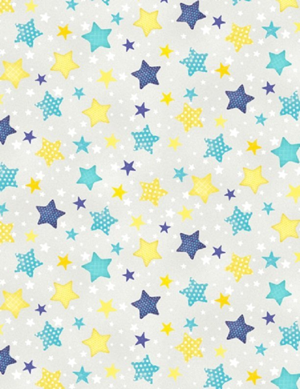 Wilmington 7512-954 Stars multi on gray-To the Moon and Back  Flannel