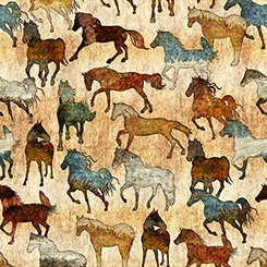 Quilted Treasures Unbridled Horses 1649-24691-S