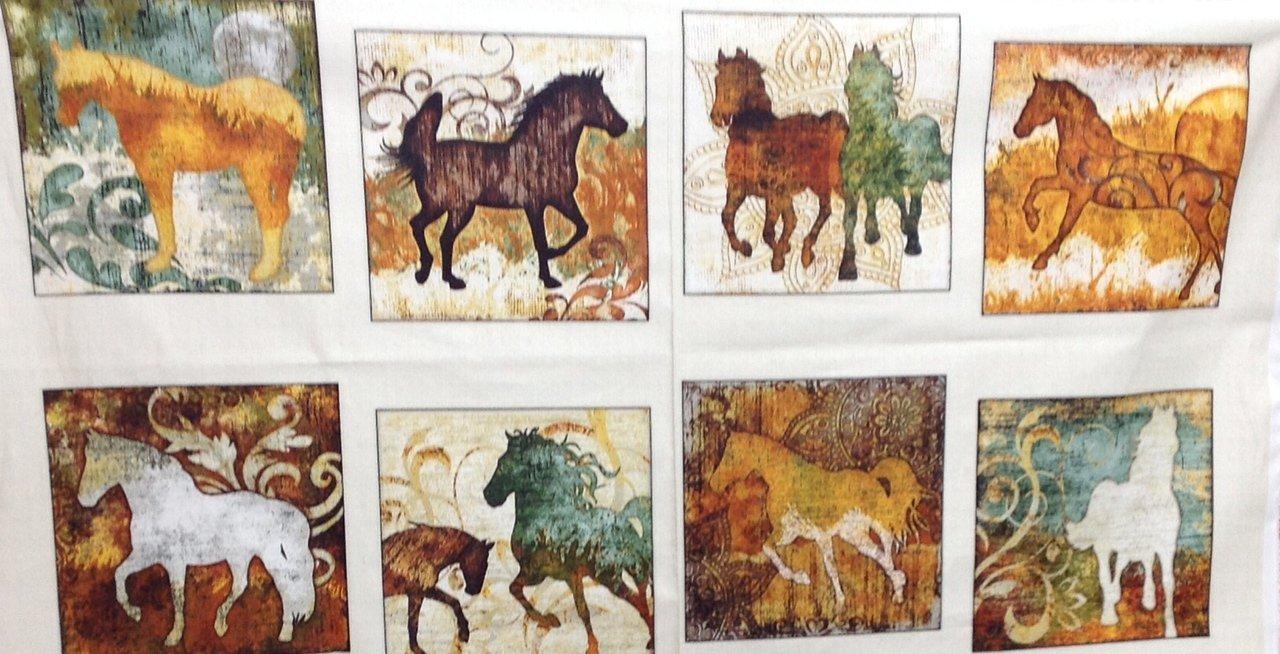 Unbridled Horse Panel Creme Quilting Treasures