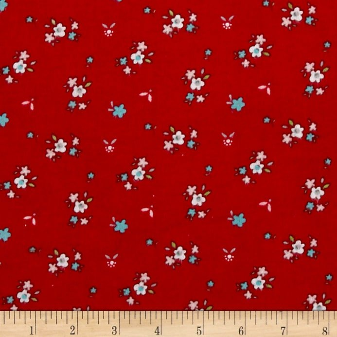 A Little Sweetness. Floral Red FLANNEL