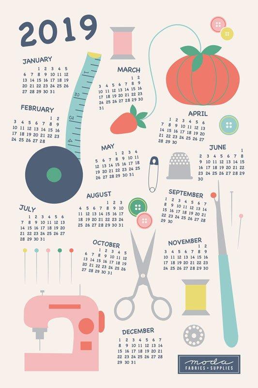 2019 Calendar Notions Tea Towel 18x27