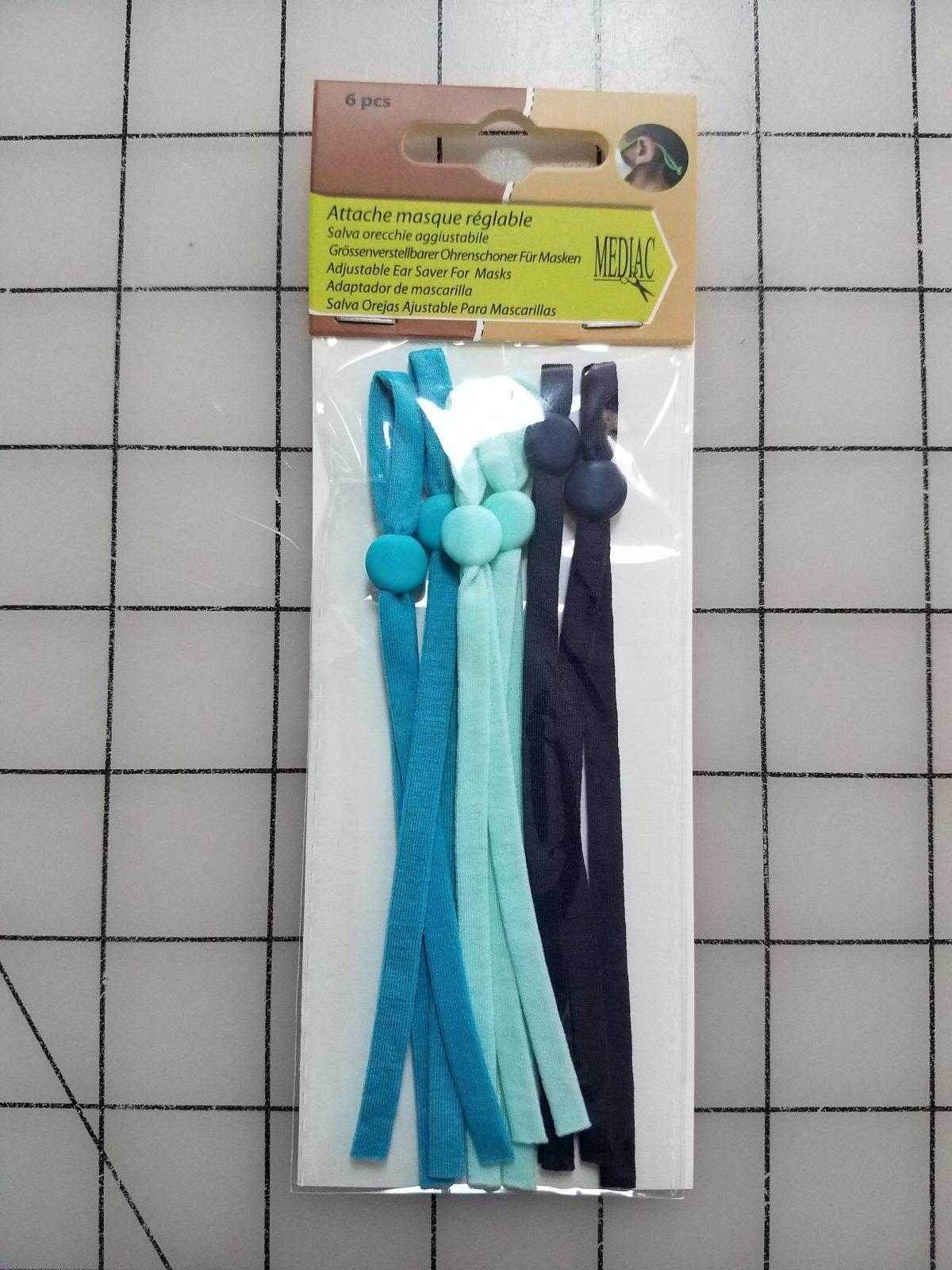 Adjustable Elastic Straps for Masks - Turquoise/Light Green/Navy