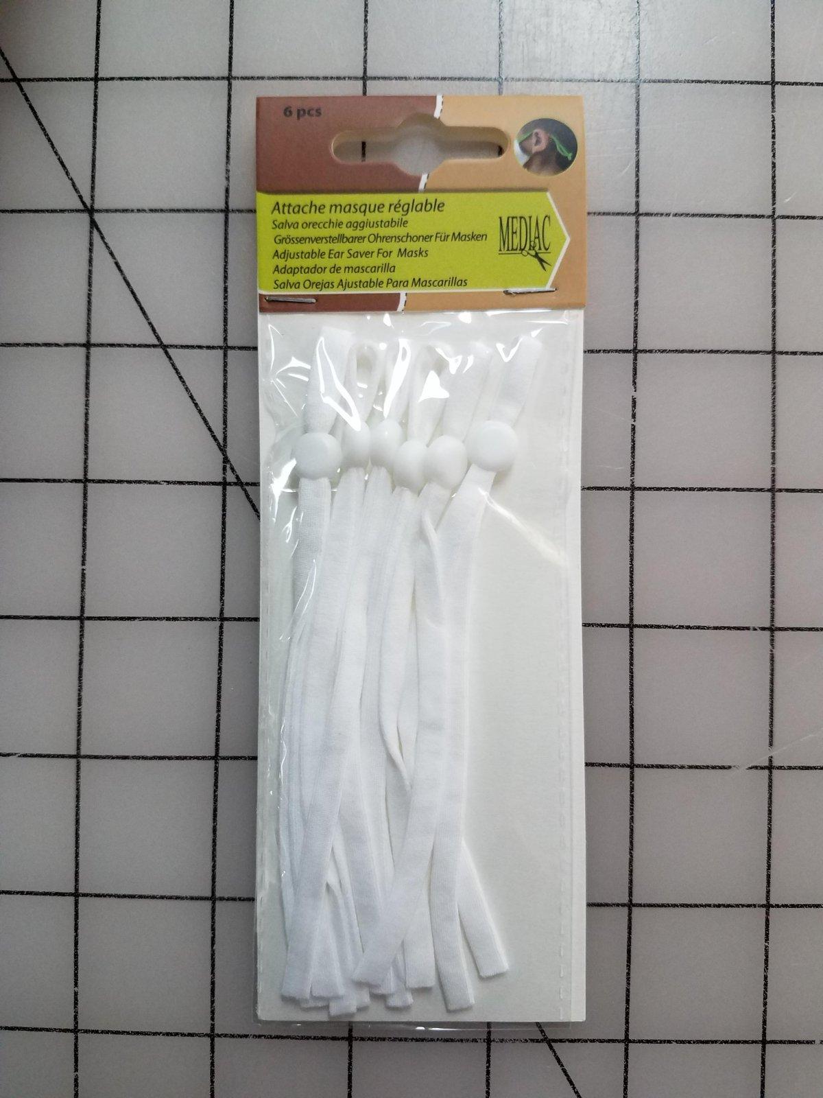 Adjustable Elastic Straps for Masks - White