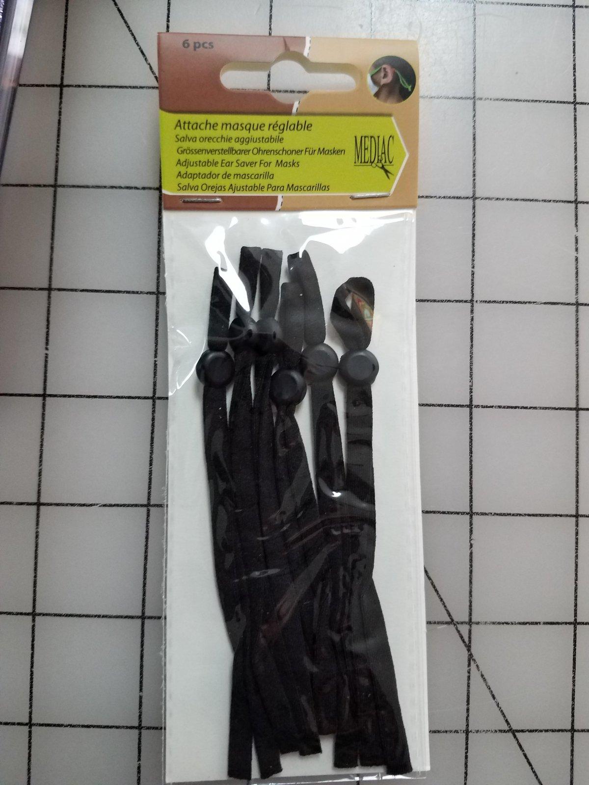 Adjustable Elastic Straps for Masks - Black