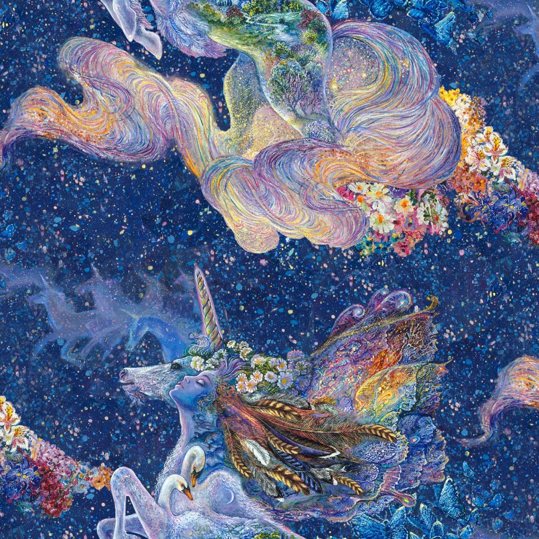3 Wishes. Celestial Journey. Unicorn Navy DIGITALLY PRINTED