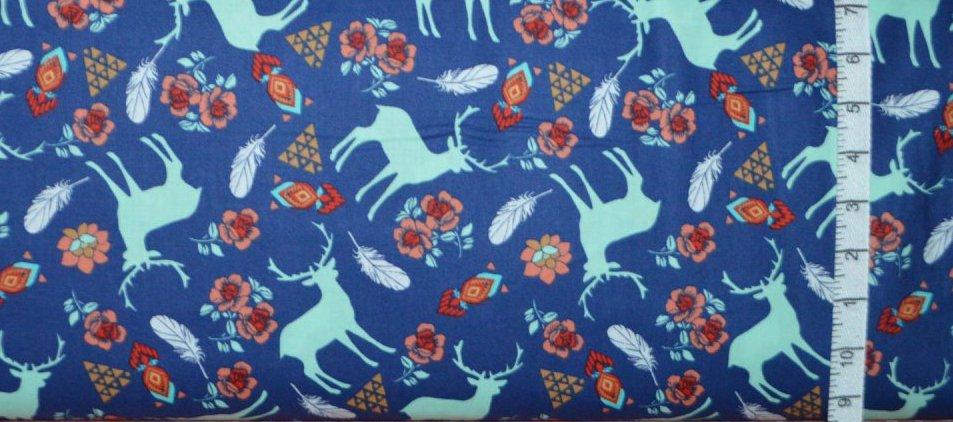 3 Wishes Fabric. Pachua. Deer Navy