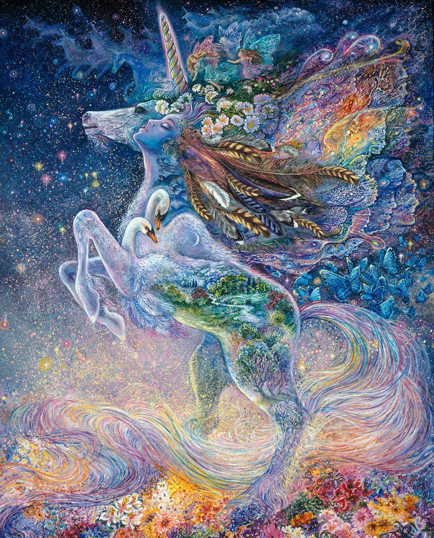 3 Wishes. Celestial Journey. Unicorn Panel Full Yard DIGITALLY PRINTED