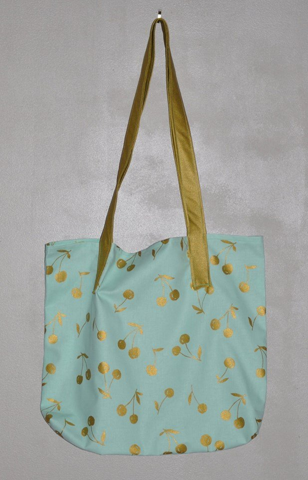 Big Cherry Metallic Mint Reusable Grocery Bag