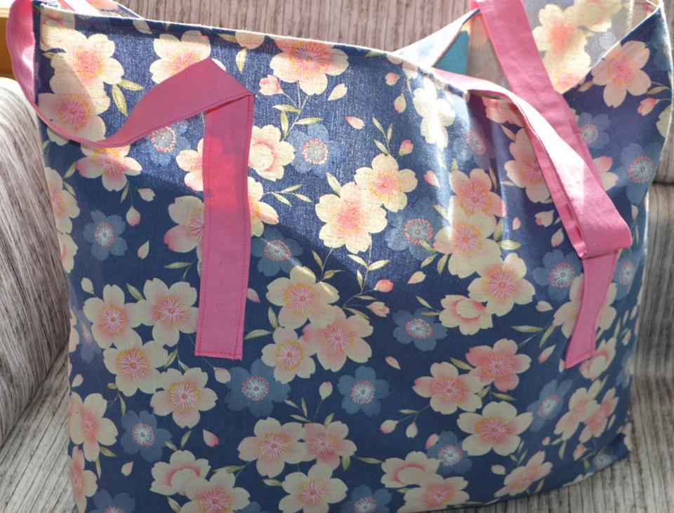 Cherry Blossom Blue Grocery Bag Kit