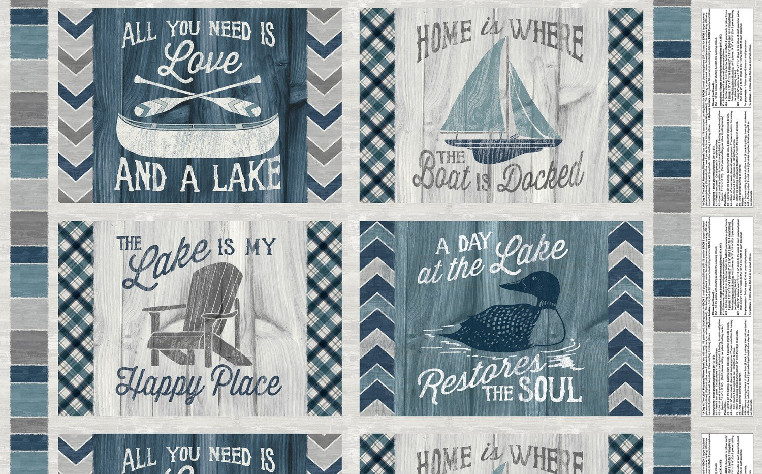 A Day At the Lake. Pillow Panel 2/3 yd