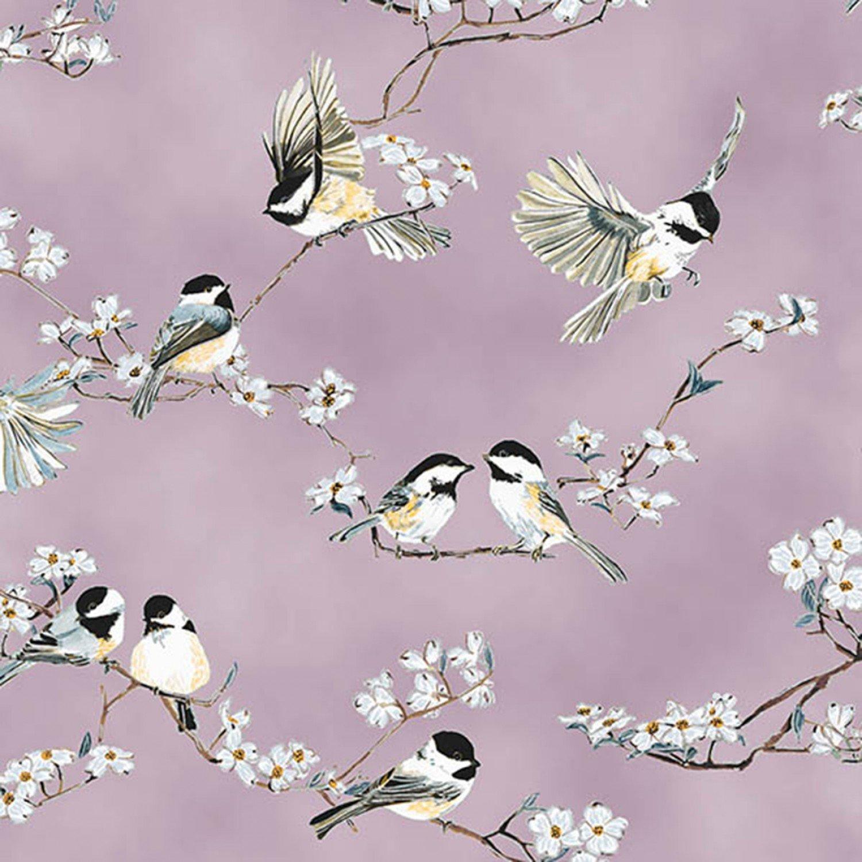A Little Birdie Told Me. Birds on Floral Branch Dusty Mauve/Silver Metallic