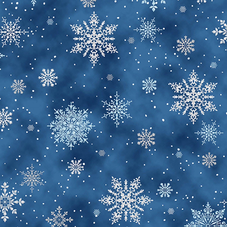 A Winter's Sky. Snowflakes Navy Silver Metallic