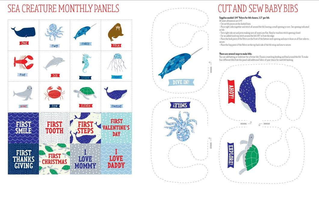 Ahoy. Sea Creature Cut and Sew Baby Bibs Panel 2/3 yd