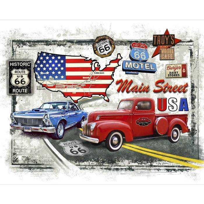 American Pride. Route 66 Map Panel DIGITALLY PRINTED