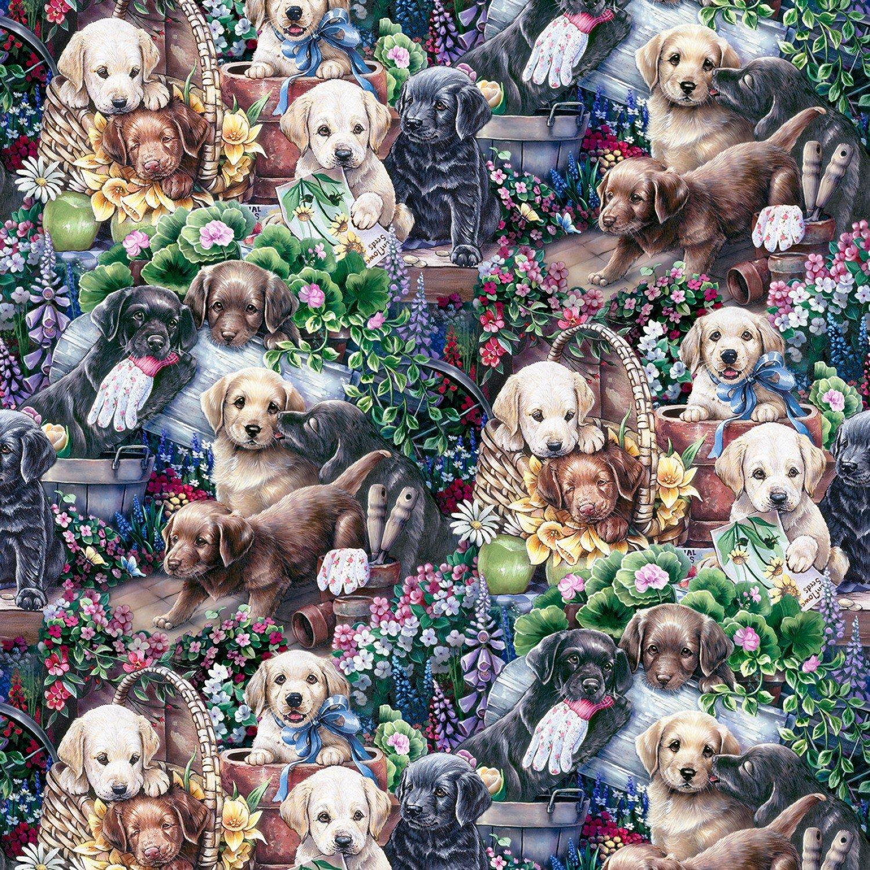 Animal Instincts. Gardening Puppies Multi DIGITALLY PRINTED