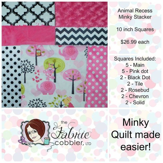 Animal Recess Minky Stacker - 10 inch Squares