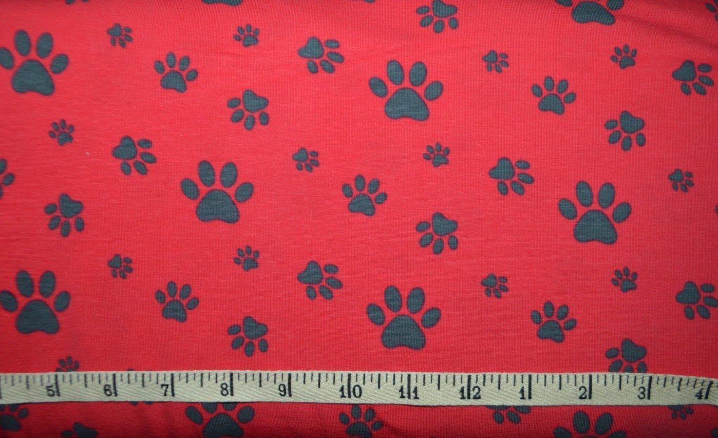 8a8429011e9 Avalana Jersey Knit Paw Prints Red KNIT