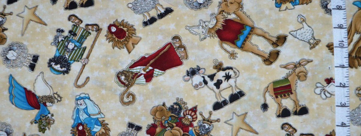 Away In A Manger. Tossed Characters Cream