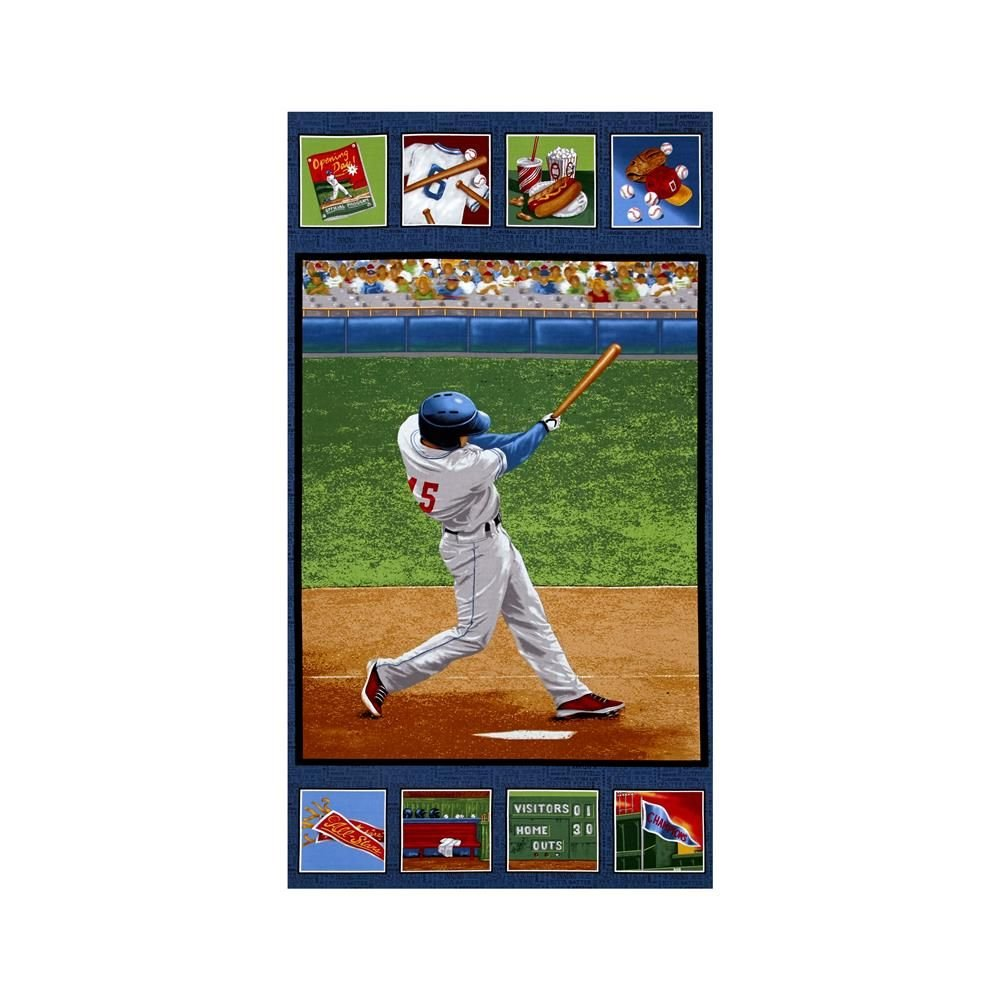 Batter Up! Up To Bat Panel Green 2/3 yd