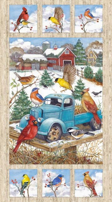 Bird Song. Winter Scene Panel Digitally Printed 2/3 yd
