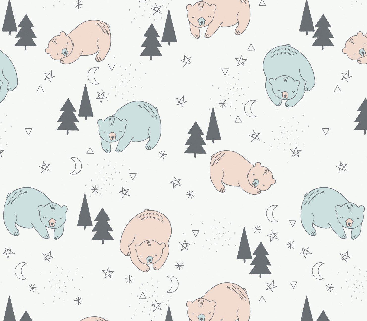 Bonne Nuit. Sleeping Bears in White