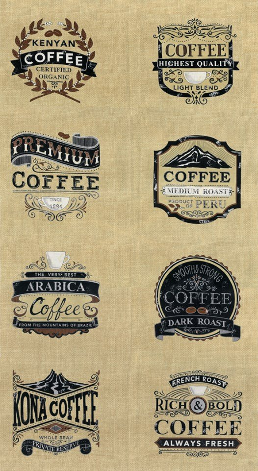 Brew. Coffee Label Panel Burlap Tan 2/3 yd