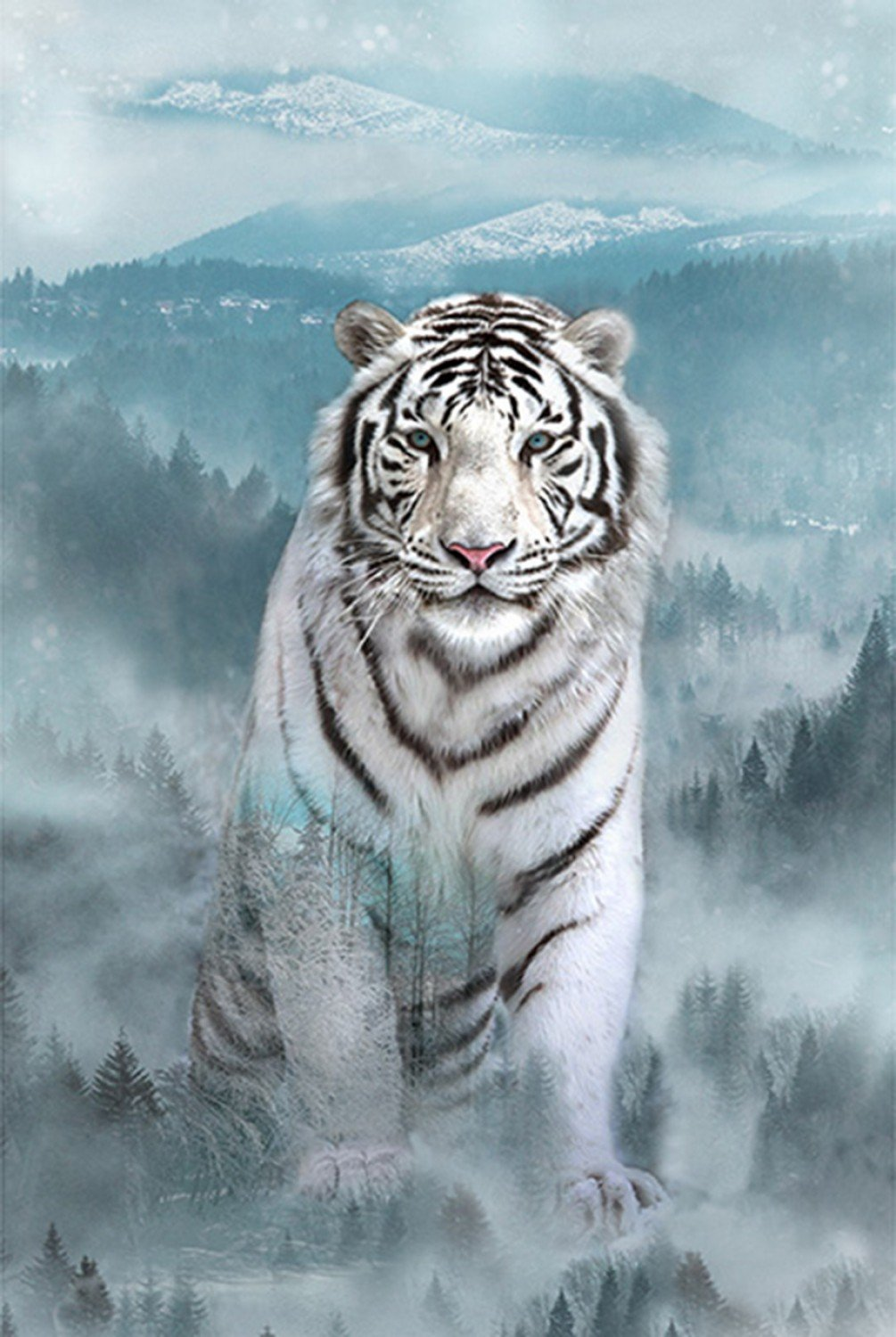 Call of the Wild. White Tiger Panel 29 inches DIGITALLY PRINTED