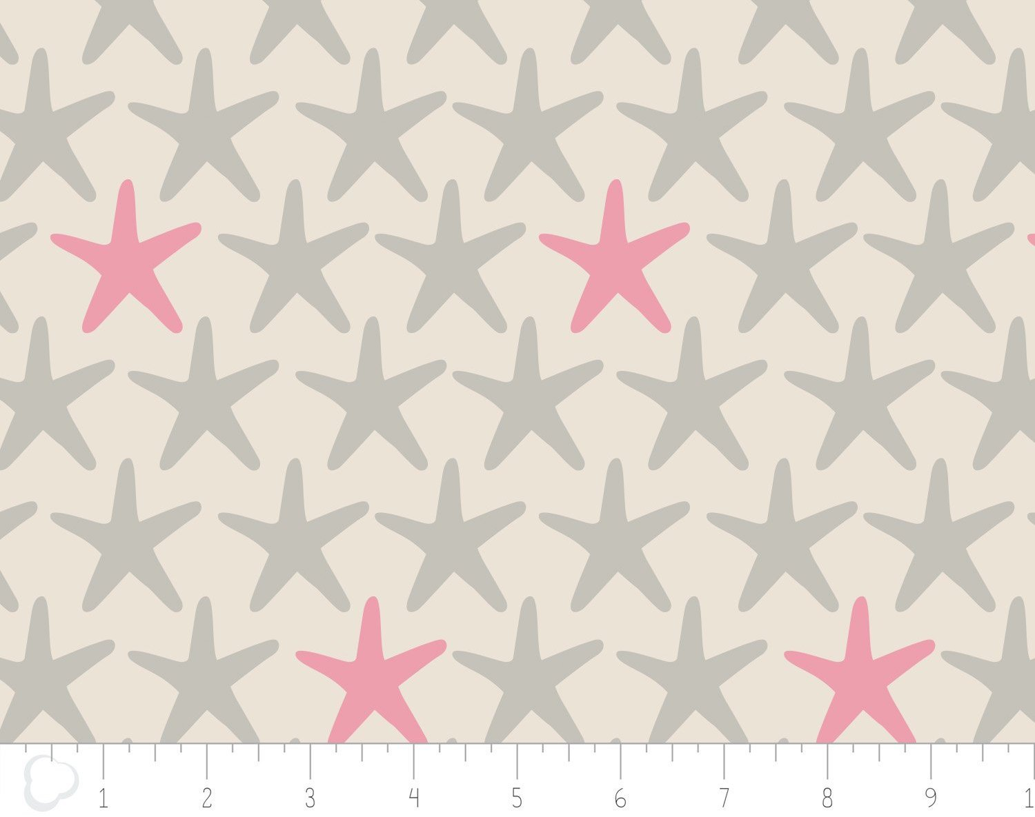 Beach House. Starfish in Coral. DOUBLE GAUZE