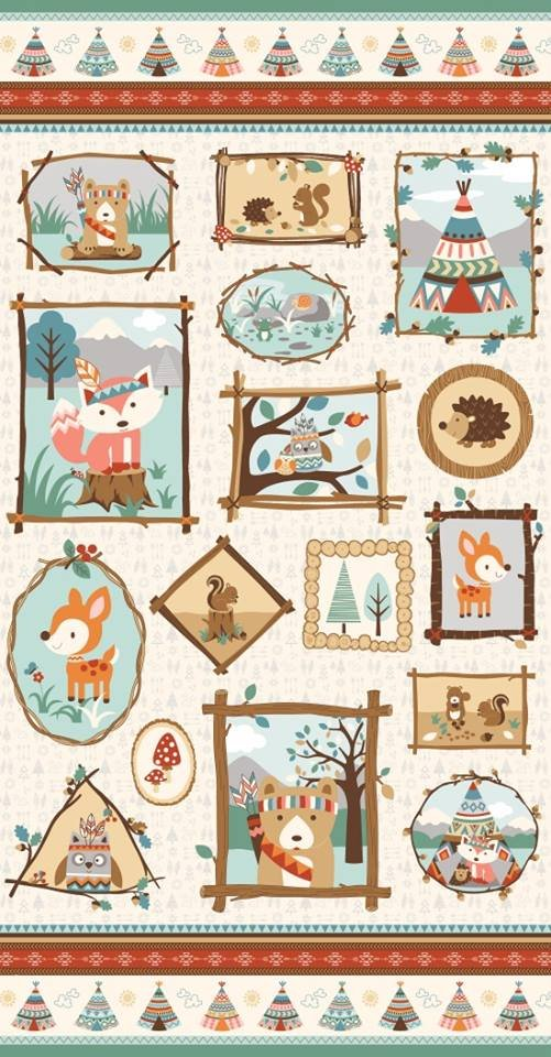 Camp-A-Long Critters. Picture Frames Panel 2/3 yd