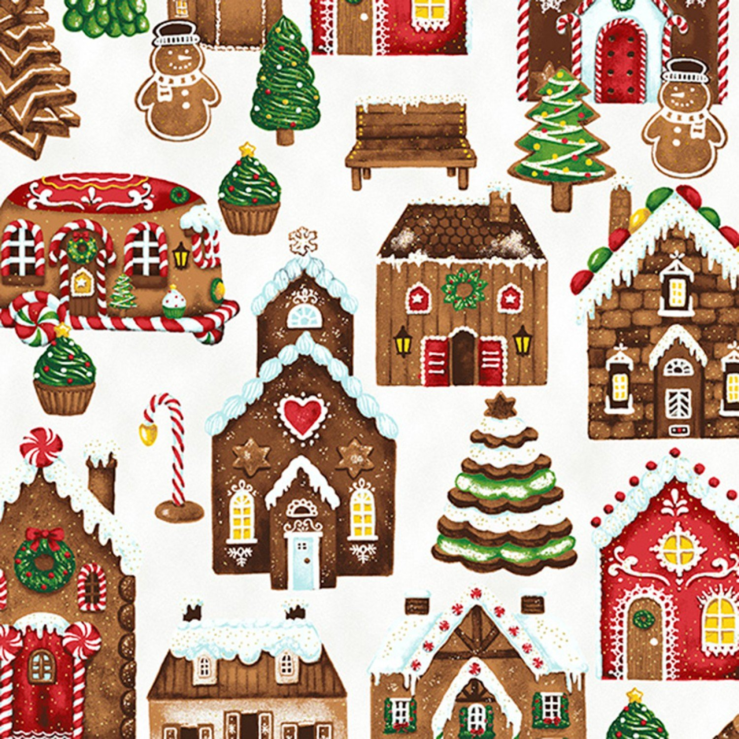 Candy Cane Lane. Gingerbread Houses Snow Gold Metallic